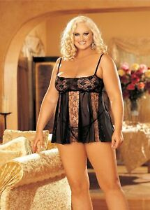 Sexy-Black-Lace-and-Sheer-Panels-Babydoll-and-G-string-Set-Queen-Size-96120Q