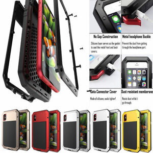 iPhone-7-8-Plus-XR-XS-Case-Full-Body-Shockproof-Waterproof-Aluminum-Glass-Cover