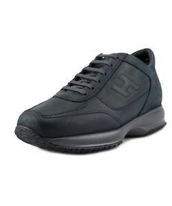 bddd91c8b3 Image is loading Hogan-Sneakers-Leather-Black-Interactive-Rilievo-US9-N20-