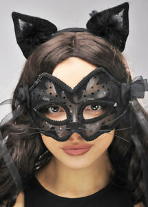 Image is loading Womens-Black-Lace-Catwoman-Mask & Womens Black Lace Catwoman Mask | eBay