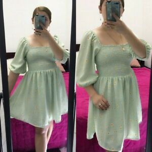 Fabchic-Casual-Formal-Korean-Mint-Green-Floral-Dress-FREE-SHIPPING-S-to-XL