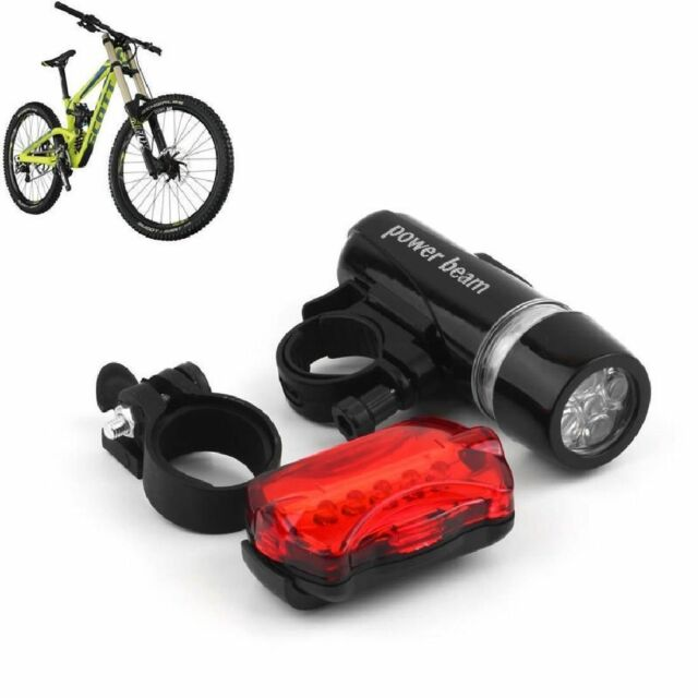 5 Water Resistant LED Bike Bicycle Head Light Rear Safety Flashlight Bracket DE
