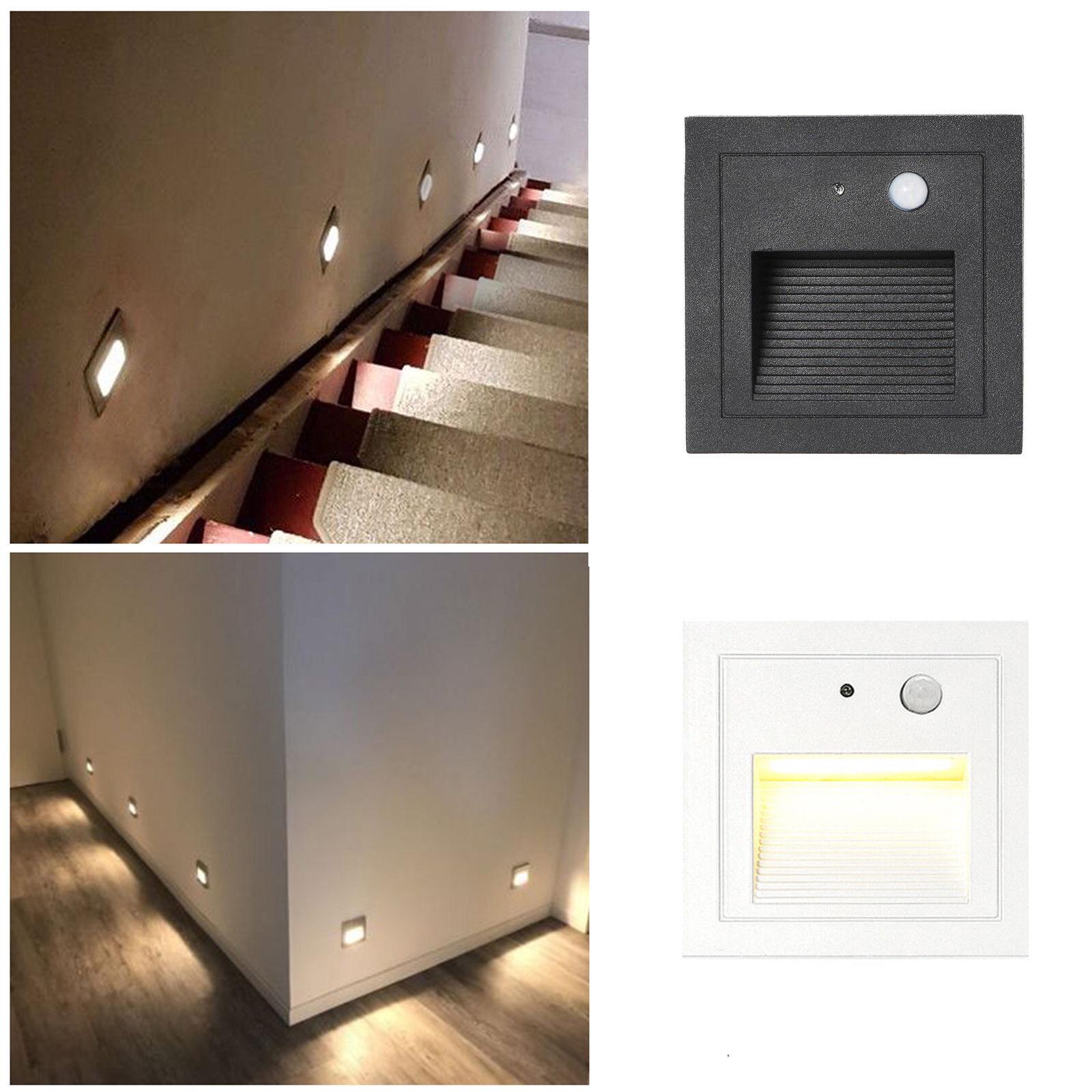 1-4x Set LED Treppen Beleuchtung Wand Einbau Leuchte Stufen Bewegungsmelder 230V