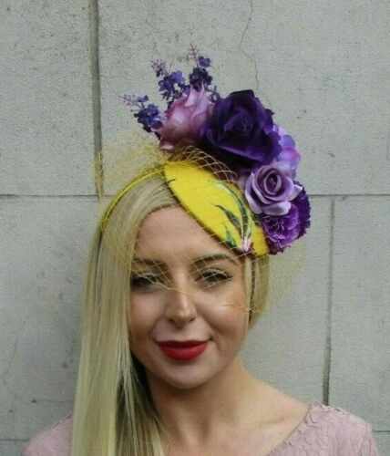 Mustard Yellow Purple Lilac Blusher Birdcage Veil Flower Fascinator Hat 7114