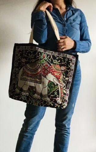 Embroidered Spring Thai Elephant Cotton Tote Shoulder Ethic Bohemian Handbag
