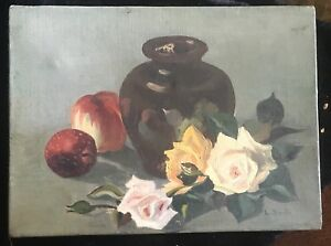Early-20th-Century-Impressionist-Still-Life-Oil-on-Canvas-by-L-Smith