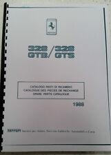 FERRARI 328 GTB  328 GTS PARTS MANUAL 1988 REPRINTED COMB BOUND