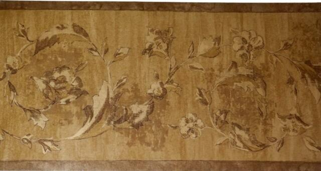 Victorian Scroll Leaf Crown Moulding Gold Brown Architectural Wallpaper border