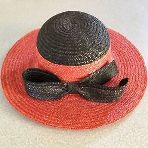 ITALIAN-100-Natural-Straw-Hat-RN-36469-Red-with-Black-Bow-13-5-X-14-Brim