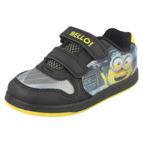 Kids Despicable Me Minions Trainers with Riptape Straps Lab Scene