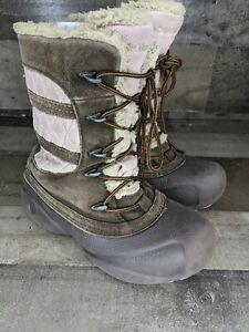 COLUMBIA Techlite Girls  Sz4 Brown Pink Waterproof Snow Boot