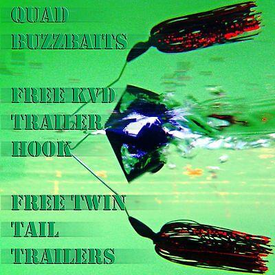 QUAD bass fishing buzz baits. Free KVD trailer hook! FREE buzzbait trailers!