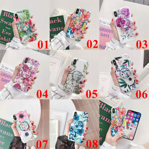 For-iPhone-11-Pro-Max-XS-XR-6s-7-8-Plus-Flower-Leaf-Holder-Stand-TPU-Case-Cover