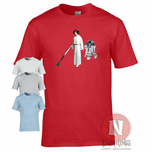 Princess Leia vacuuming t-shirt hoover funny R2D2 fan spoof original