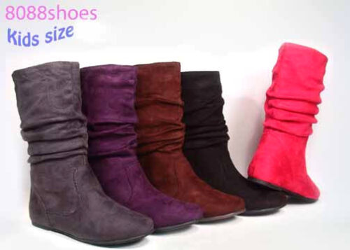 Lucky Top Girl/'s Kid/'s Cute Zipper Mid Calf Slouchy Flat Boot Shoes Size 9-4