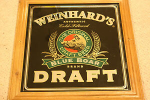 WEINHARD'S BLUE BOAR DRAFT BEER REVERSE ON MIRRORED GLASS SIGN IN WOOD FRAME