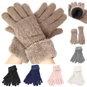 Womens-Winter-Snow-Gloves-Sleeve-Warmer-Warm-Thick-Fur-Knit-Thermal-Insulated