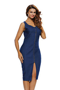 a61ebe290f Blue Faux Denim Sleeveless Midi Dress With Zip to the Front Sizes ...