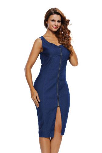Bleu faux denim sans manches midi robe avec fermeture éclair sur le devant taille UK8-14