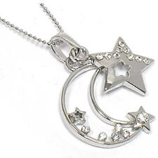 """Celestial Crystal Crescent Moon and Star Pendant 18"""" Necklace"""