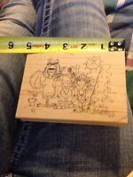Imaginations J 860d Day At The Beach Kids Fishing Wood Mounted Rubber Stamp