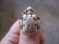 vintage Eagle Chief Coat of Arms Silver 10k gold Mexico Mexican Biker Ring 7