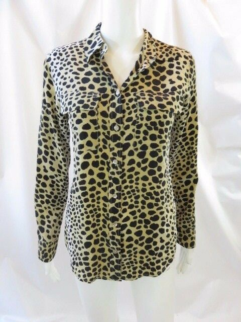 EQUIPMENT Beige schwarz Animal Print Silk Button Down Long Sleeve Blouse Top Sz XS