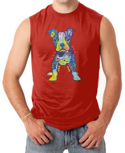 Neon Psychedelic Dog Animal Love Pet Men/'s SLEEVELESS T-shirt