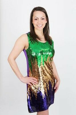 Mardi Gras Purple/Green/Gold Full Sequin Front Ladies' Party Dress