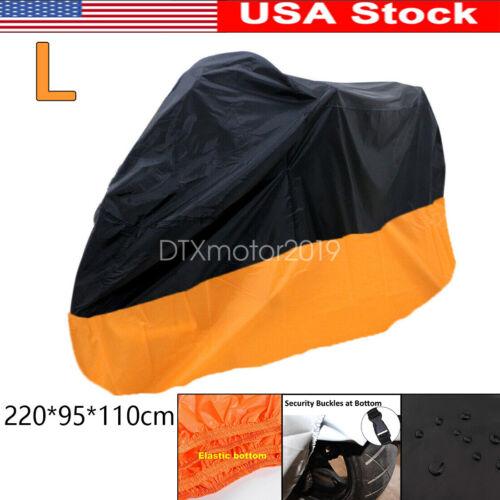L Black/&Orange Waterproof Motorcycle Cover For Suzuki Gixxer GSXR 600 750 1000