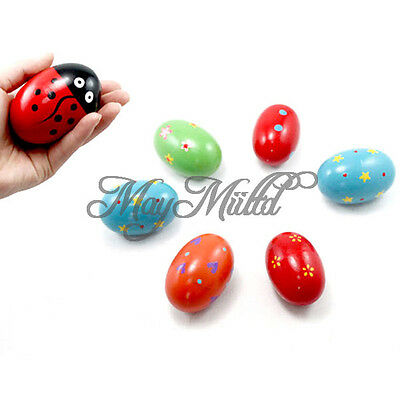 Children Baby Toys Rattles Wooden Music Egg Shaker Style Colorful Play Gift G