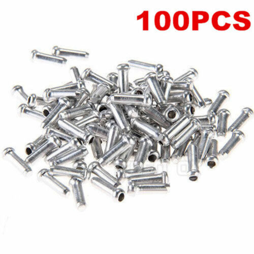 Silver Bicycle Bike Cycle Cable Wire Ferrules Ends Crimps Tidy Cover Cap