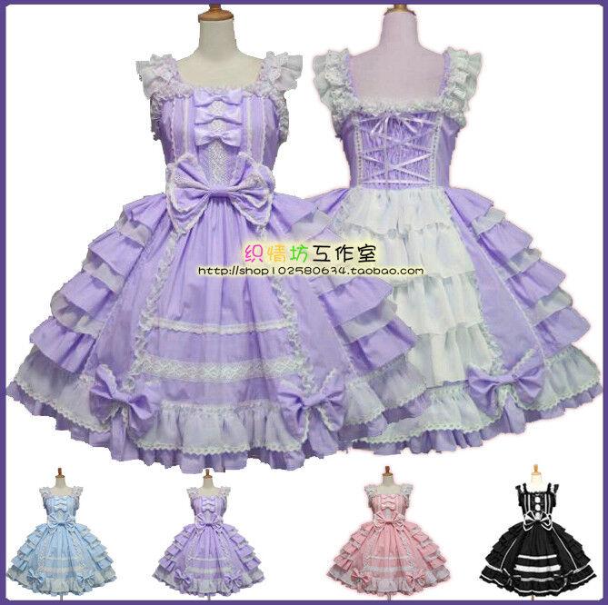 Girl Sweet Lolita Gothic Ruffle Dress Bowknot Ball Gown Off Shoulder JSK Costume