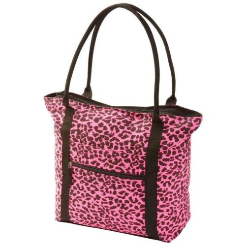 Neon Pink Leopard Print Shopping Tote Purse Shoulder Diaper Bag Travel Carry On