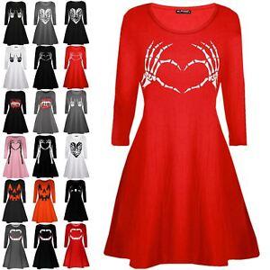 Women-Ladies-Costume-Flared-Skeleton-Bone-Heart-Halloween-Smock-Swing-Mini-Dress