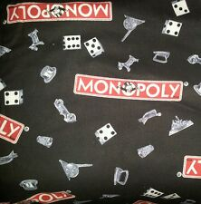 "VINTAGE MONOPOLY BOARD GAME ROOM DICE TOKEN PIECES LINED VALANCE 42"" X 12"""
