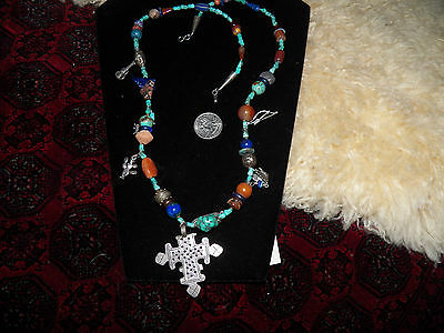 Native american sterling silver charms turquoise art glass trade beads  necklace