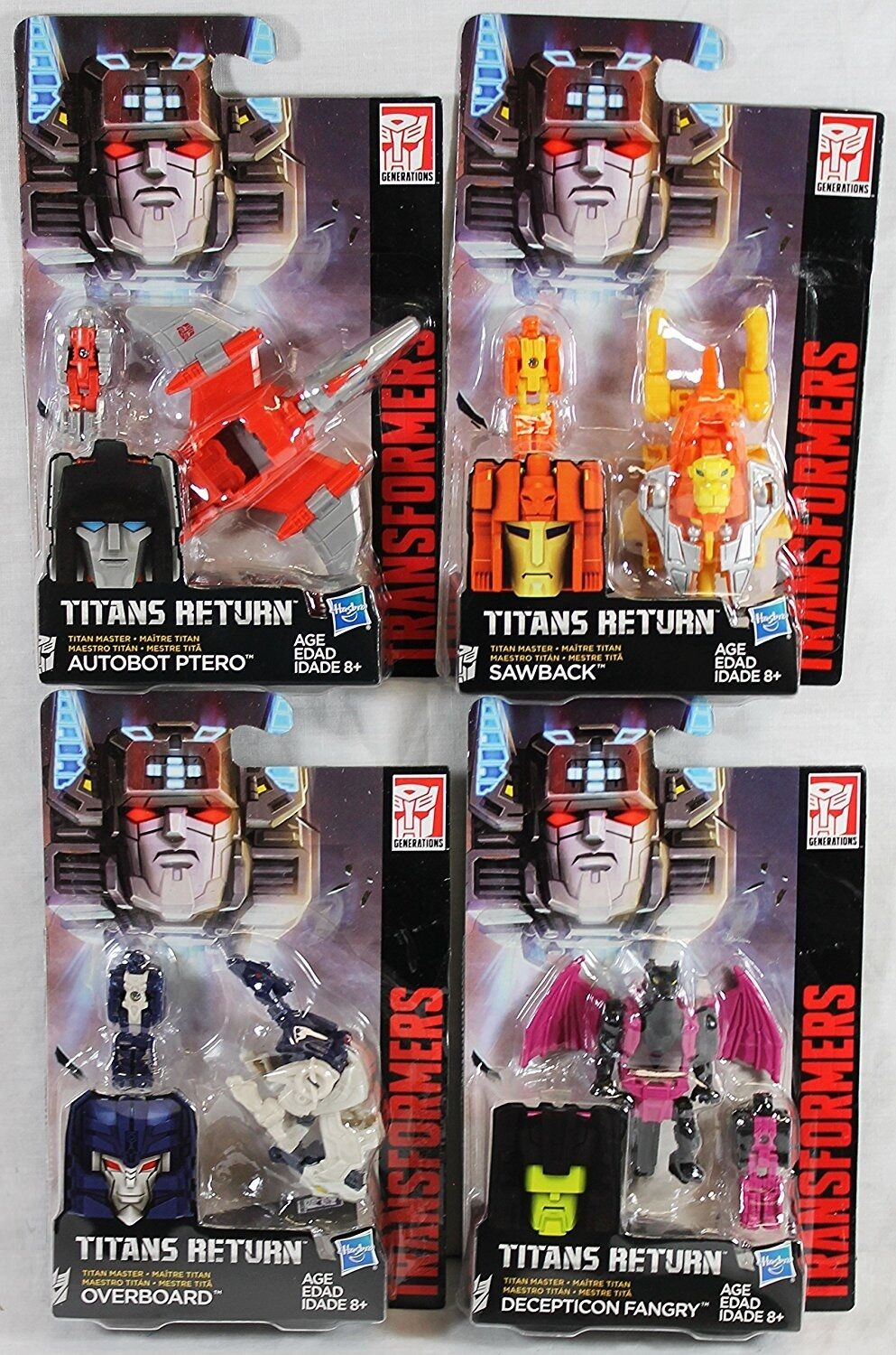 TRANSFORMERS TITANS RETURN MASTERS FANGRY, SAWBACK, OVERtavola, PTERO SET OF 4