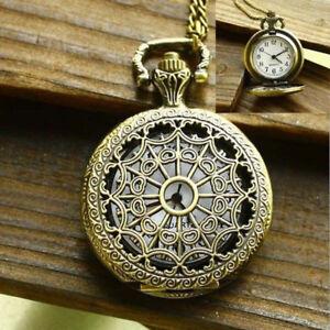 Antique-Retro-Quartz-Pocket-Watch-Fob-Bronze-Pendant-Chain-Necklace-Steampunk