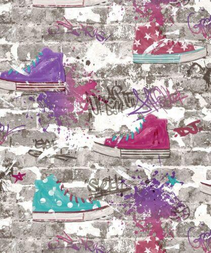 Finedecor Kids Wallpaper-URBAN STREET-Brick//Trainers-Purple Teal fd42219