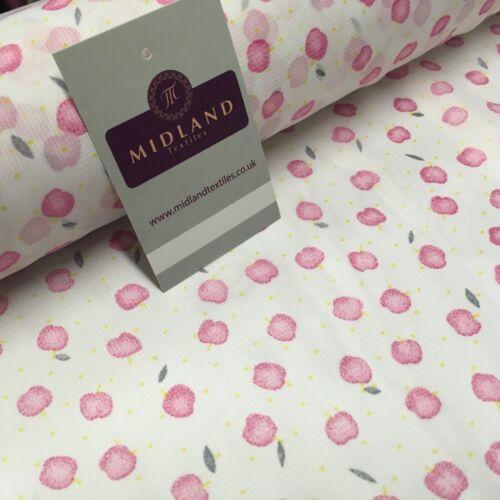 BIANCO /& ROSA APPLE Stampato Crepe Chiffon Tessuto 150 cm di larghezza MK1190-1 Mtex