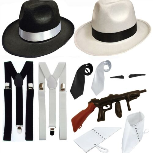 ADULT GANGSTER FANCY DRESS HAT BRACES 1920/'S GATSBY BUGSY MALONE AL CAPONE PIMP