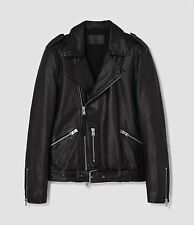 $620 NWT ALL SAINTS KAHAWA Jet Black Leather Biker Jacket Men's XL
