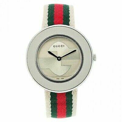 6d06d0e5ef9 Women s Gucci YA129411 Swiss U-play Watch Silver Tone Nylon Strap 35mm Case  for sale online