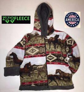 ZooFleece-Aztec-Red-Horse-Kids-Girls-Animal-Pet-Jacket-Hoodie-Coat-Reversible