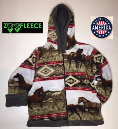 ZooFleece Aztec Red Horse Kids Girls Animal Pet Jacket Hoodie Coat Reversible
