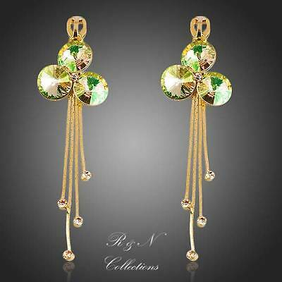 18K Gold Plated String Made With Swarovski Austrian Crystal Drop Earrings 402-25