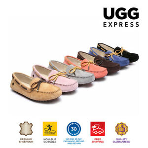 UGG Women Causal Shoes Summer Lace Moccasins, Leather Flat Loafer