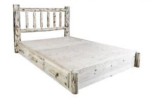 Log King Platform Beds With Storage Dovetail Drawers Rustic Amish