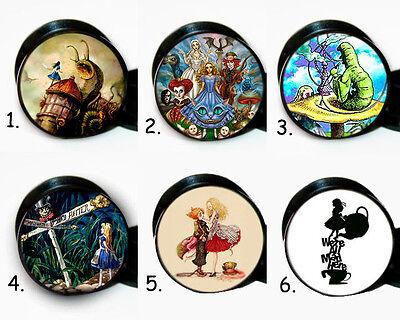 Select 1 pair Alice In Wonderland ear gauges tunnel screw backs plugs